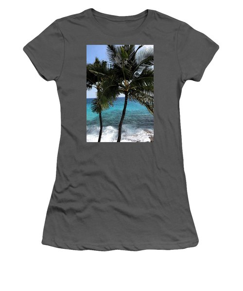 Hawaiian Palm Trees - All Images Copyright Karen L. Nicholson Women's T-Shirt (Junior Cut) by Karen Nicholson