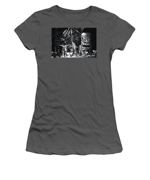 Women's T-Shirt (Junior Cut) featuring the photograph Hawaiian Tiki Carvings by Sharon Mau