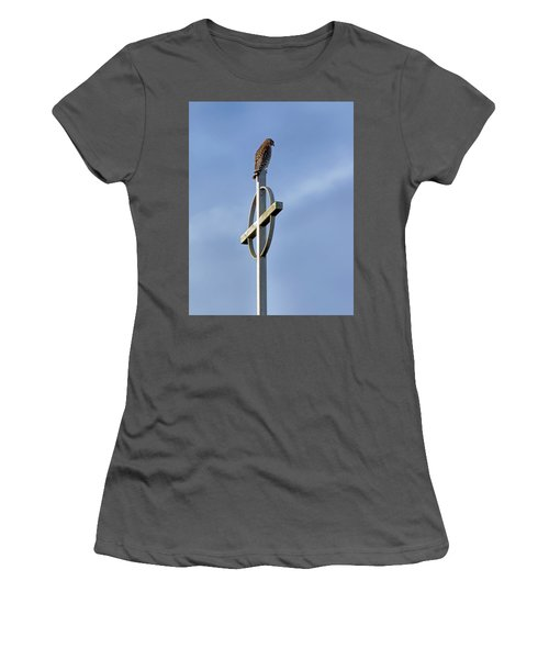 Women's T-Shirt (Junior Cut) featuring the photograph Hawk On Steeple by Richard Rizzo