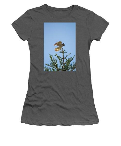 Hawk With Regal Landing Women's T-Shirt (Athletic Fit)