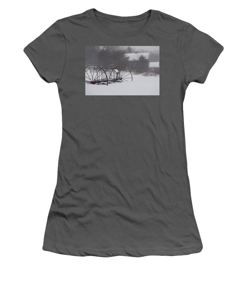 Hay Rake In The Snow Women's T-Shirt (Athletic Fit)