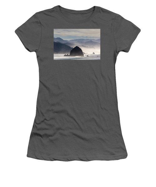 Haystack Rock On The Oregon Coast In Cannon Beach Women's T-Shirt (Athletic Fit)