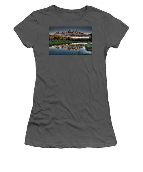 Hazy Reflections At Scwabacher Landing Women's T-Shirt (Junior Cut) by Ryan Smith
