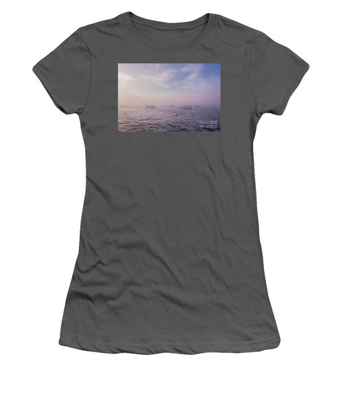 Hazy Sunset In Bar Harbor Maine Women's T-Shirt (Athletic Fit)