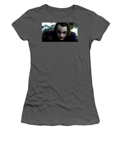 Heath Ledger Joker Why So Serious Women's T-Shirt (Junior Cut) by David Dehner