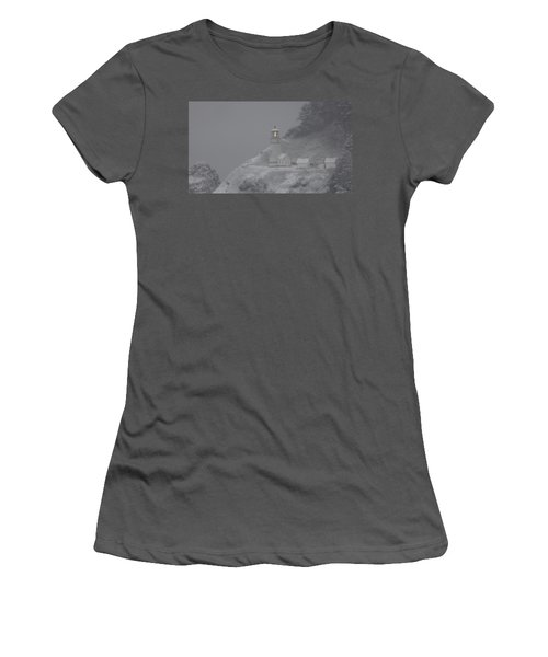 Women's T-Shirt (Junior Cut) featuring the photograph Heceta Lighthouse Snowstorm by Kenny Henson