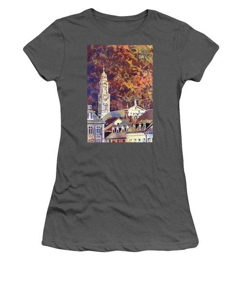 Women's T-Shirt (Junior Cut) featuring the painting Heidelberg Evening by Ryan Fox