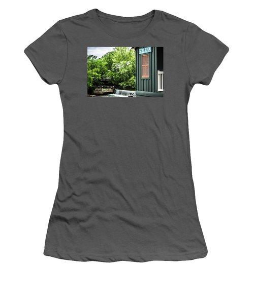 Women's T-Shirt (Junior Cut) featuring the photograph Helena Sign By Buck Creek by Parker Cunningham