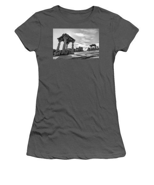 Women's T-Shirt (Junior Cut) featuring the photograph Hemakuta Hill, Hampi, 2017 by Hitendra SINKAR