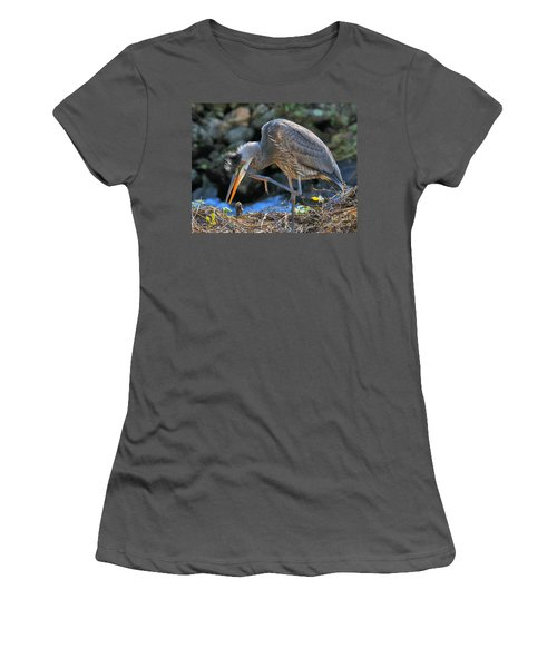 Women's T-Shirt (Athletic Fit) featuring the photograph Heron Scratch by Debbie Stahre
