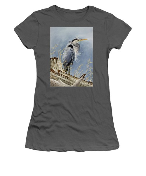 Women's T-Shirt (Junior Cut) featuring the painting Herons Windswept Shore by James Williamson