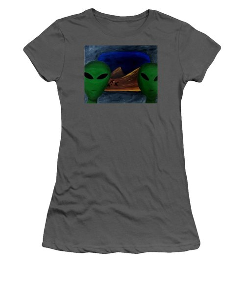 Women's T-Shirt (Junior Cut) featuring the painting Hey Bob, I Think They Are Following Us.. by Lola Connelly