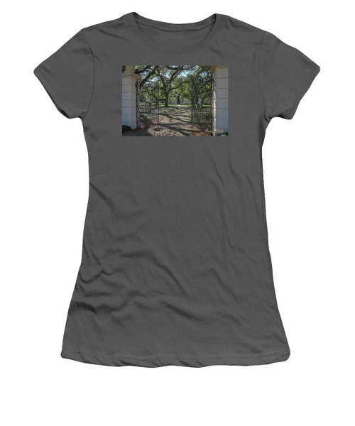 Women's T-Shirt (Junior Cut) featuring the photograph Heyman House Gates 1 by Gregory Daley  PPSA
