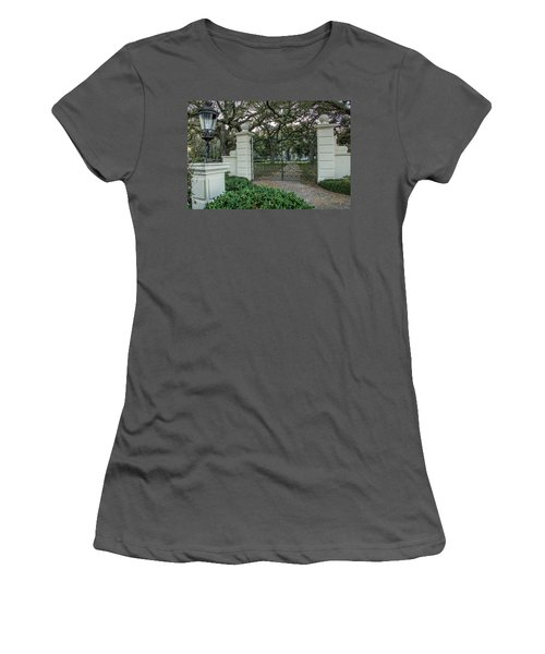 Women's T-Shirt (Junior Cut) featuring the photograph Heyman House Gates by Gregory Daley  PPSA