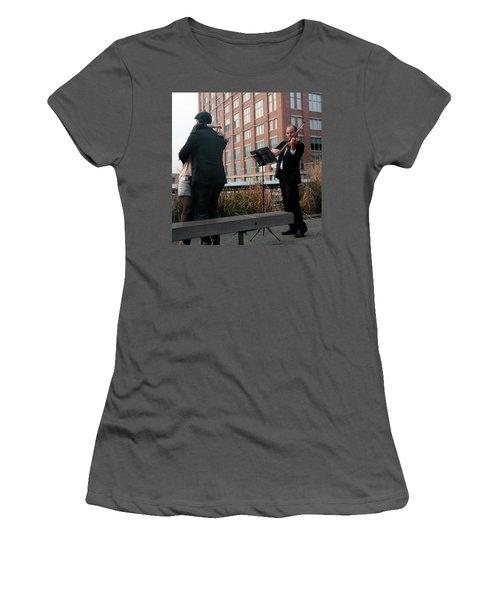 Women's T-Shirt (Junior Cut) featuring the photograph Highline Serenade by Madeline Ellis