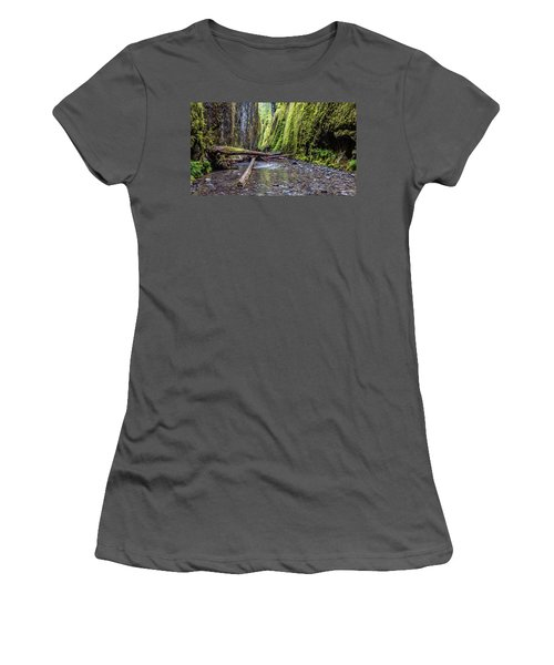 Hiking Oneonta Gorge Women's T-Shirt (Junior Cut) by Pierre Leclerc Photography