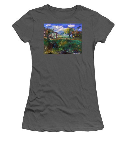 Women's T-Shirt (Junior Cut) featuring the painting Hillside Tranquility by Mary Carol Williams