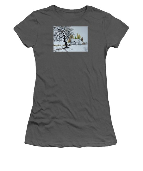 Women's T-Shirt (Junior Cut) featuring the painting Hilltop Church by Jack G  Brauer