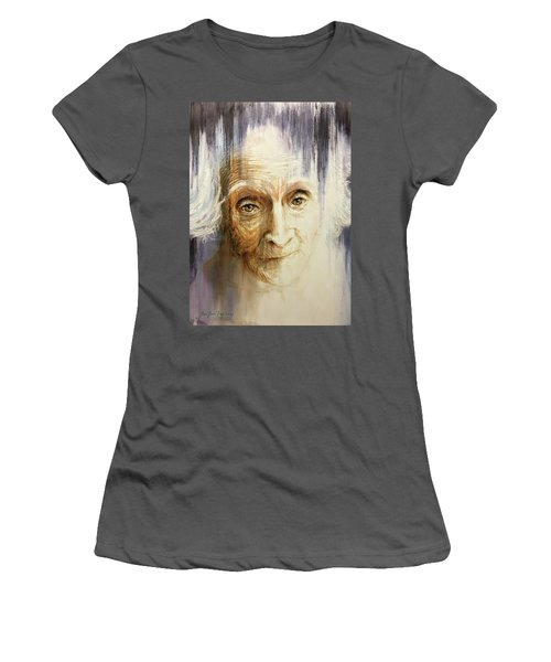 Women's T-Shirt (Junior Cut) featuring the painting Histories And Memories Of Ancestral Light 3 by J- J- Espinoza