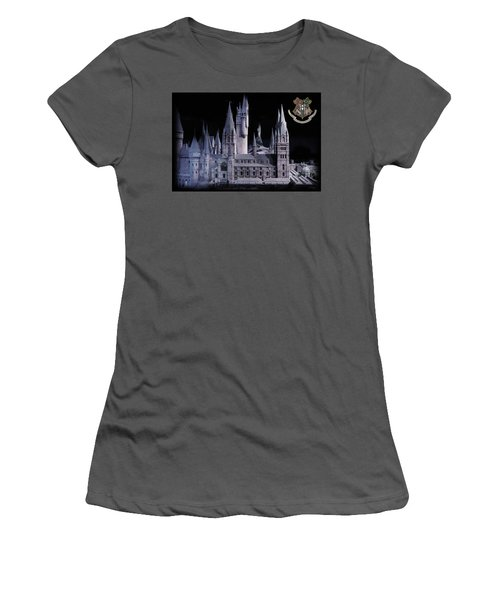 Women's T-Shirt (Junior Cut) featuring the mixed media Hogwards School  by Gina Dsgn
