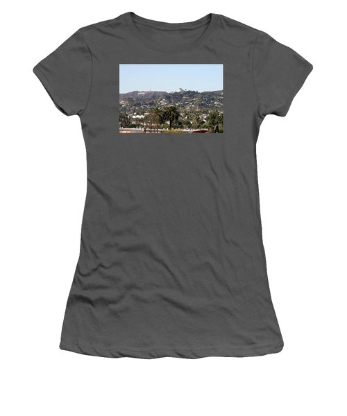 Hollywood Hills From Sunset Blvd Women's T-Shirt (Athletic Fit)