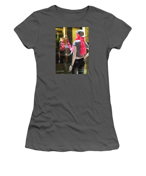 Women's T-Shirt (Junior Cut) featuring the photograph Hollywood Pink Hair In Window by Cheryl Del Toro