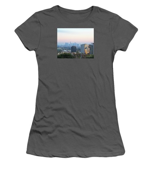 Women's T-Shirt (Junior Cut) featuring the photograph Hollywood View From Yamashiro's by Cheryl Del Toro