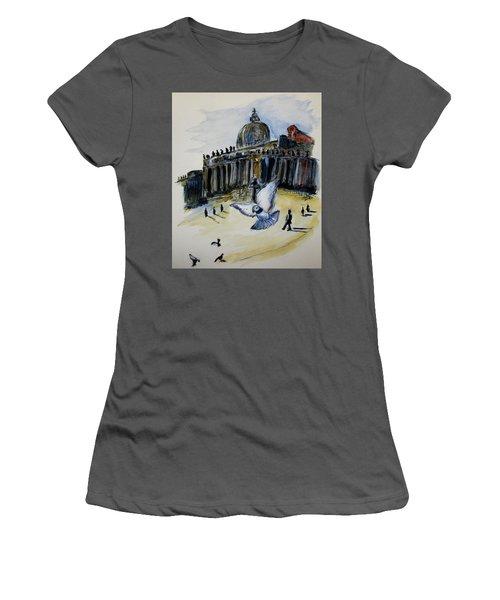 Holy Pigeons Women's T-Shirt (Junior Cut) by Clyde J Kell