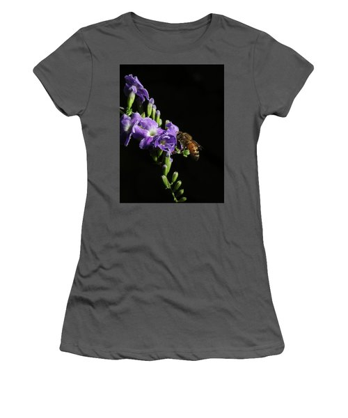 Women's T-Shirt (Junior Cut) featuring the photograph Honeybee On Golden Dewdrop by Richard Rizzo