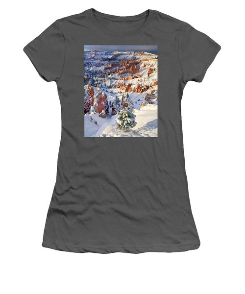 Women's T-Shirt (Junior Cut) featuring the photograph Hoodoos And Fir Tree In Winter Bryce Canyon Np Utah by Dave Welling