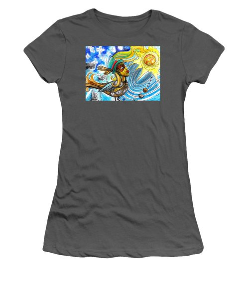 Women's T-Shirt (Junior Cut) featuring the painting Hooked By The Worm by Genevieve Esson