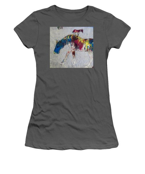 Women's T-Shirt (Junior Cut) featuring the painting Horse Of A Different Color by Thomasina Durkay