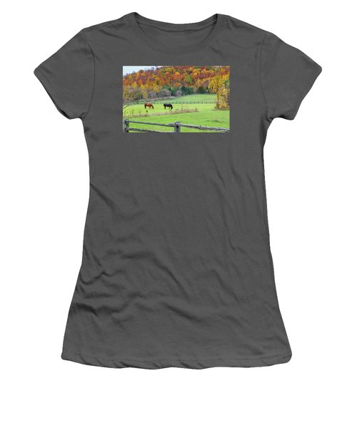 Horses Contentedly Grazing In Fall Pasture Women's T-Shirt (Athletic Fit)