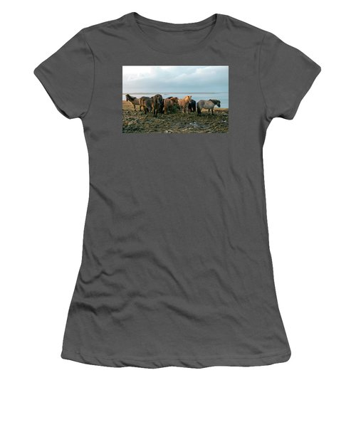 Women's T-Shirt (Athletic Fit) featuring the photograph Horses In Iceland by Dubi Roman