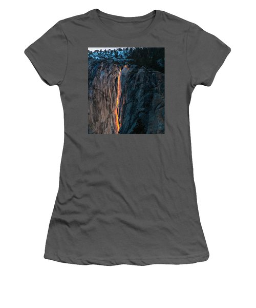 Horsetail Water Fall Glow Women's T-Shirt (Athletic Fit)