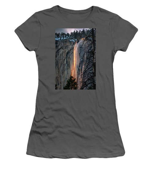 Horsetail Waterfall Glow 2017-2-24 Women's T-Shirt (Athletic Fit)