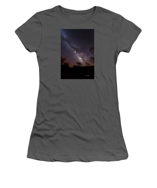 Women's T-Shirt (Junior Cut) featuring the photograph Hot August Night Under The Milky Way by Karen Slagle