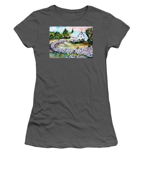 Women's T-Shirt (Junior Cut) featuring the painting House In Bosnia H Kalinovik by Roberto Gagliardi