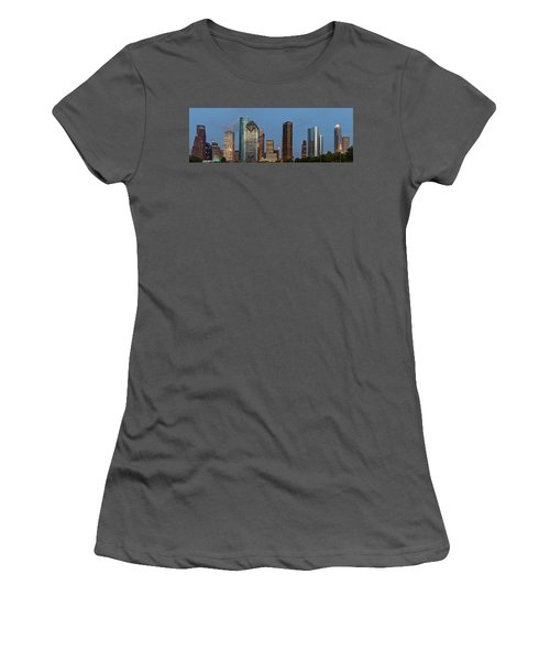 Women's T-Shirt (Junior Cut) featuring the photograph Houston Skyline Panorama by Jonathan Davison