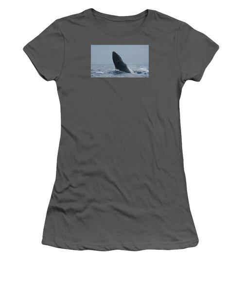 Women's T-Shirt (Junior Cut) featuring the photograph Humpback Whale Breaching by Gary Crockett