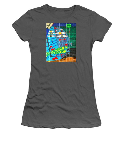 Hundertwasser Blue Moon Atlantis Escape To Outer Space In 3d By J.j.b Women's T-Shirt (Athletic Fit)