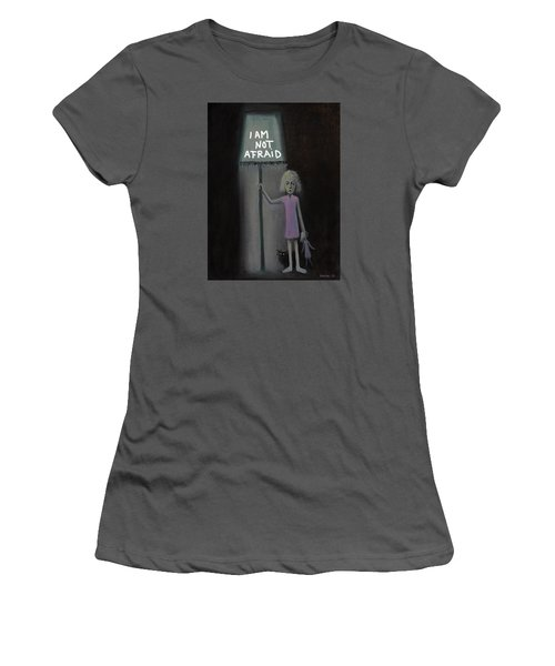 Women's T-Shirt (Junior Cut) featuring the painting I Am Not Afraid by Tone Aanderaa