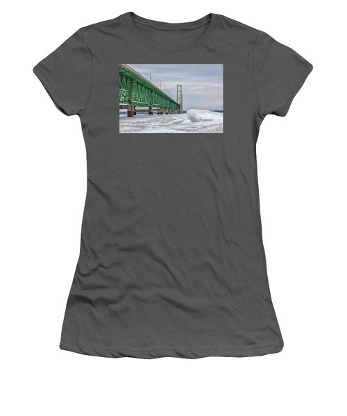 Women's T-Shirt (Junior Cut) featuring the photograph Ice And Mackinac Bridge  by John McGraw