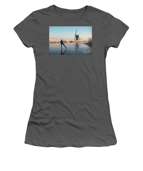 Ice Skating Past Frosted Reeds And A Windmill Women's T-Shirt (Athletic Fit)