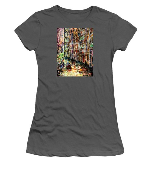 Women's T-Shirt (Junior Cut) featuring the painting Il Giro Finale Del Gondoliere by Alfred Motzer
