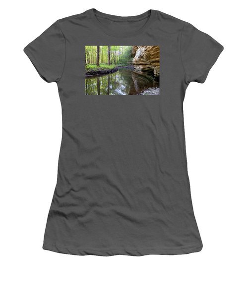 Illinois Canyon In Springstarved Rock State Park Women's T-Shirt (Athletic Fit)