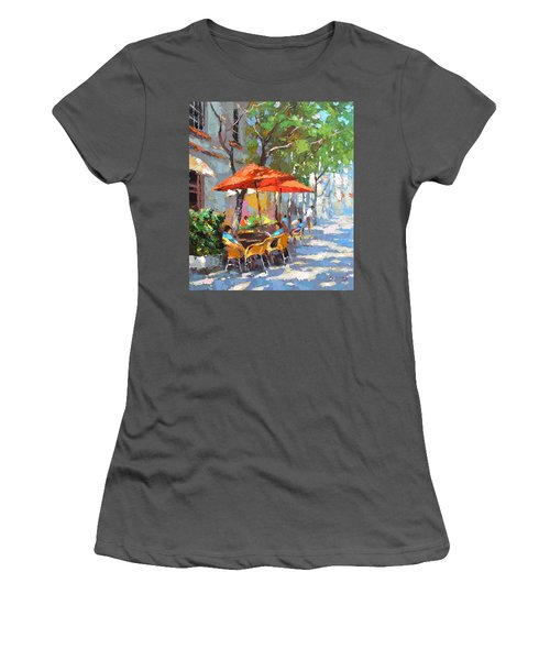 In The Shadow Of Cafe Women's T-Shirt (Junior Cut) by Dmitry Spiros