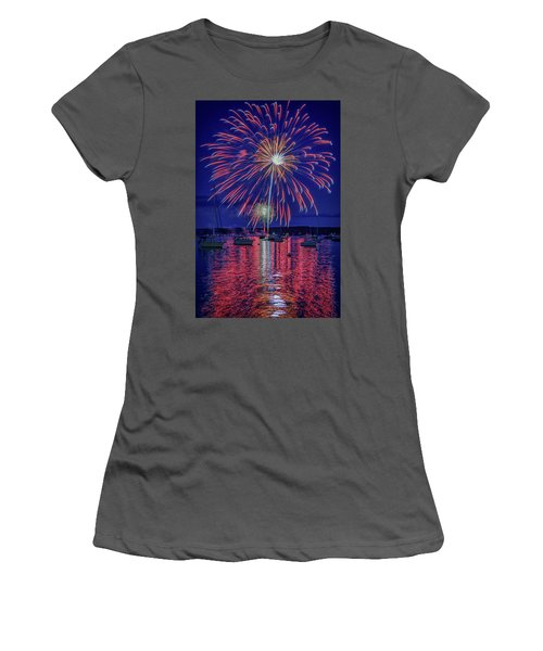 Women's T-Shirt (Athletic Fit) featuring the photograph Independence Day In Boothbay Harbor by Rick Berk