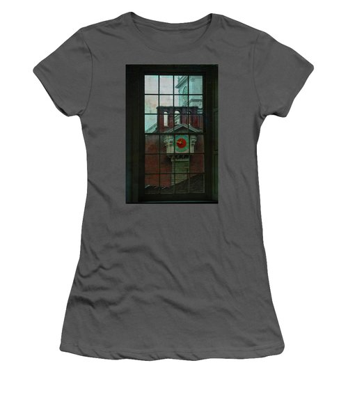 Women's T-Shirt (Junior Cut) featuring the photograph Independence Hall Through Congressional Window by Jeff Burgess