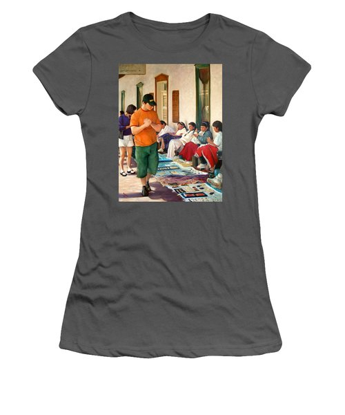 Women's T-Shirt (Junior Cut) featuring the painting Indian Market by Donelli  DiMaria